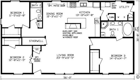 16 ft wide mobile home plans get house design ideas Double wide floor plans with basement