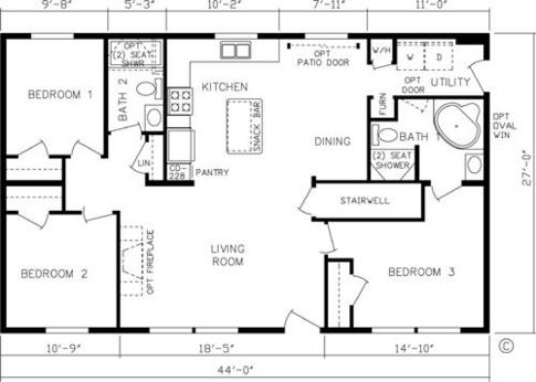 1 bedroom house plans for 24x48 for 16 foot wide mobile home floor plans
