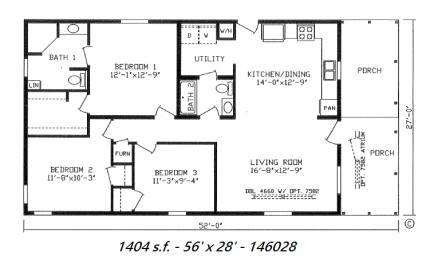 1 Bedroom Mobile Home in addition 1471 Sq Ft 66121 High Point Estate 2 as well 18 Foot Wide Mobile Home Floor Plans 18 Wide Mobile Home Floor Plans additionally Singlewide Floor Plans in addition 50 Wide X 30 House Plan. on 16 ft wide mobile home plans